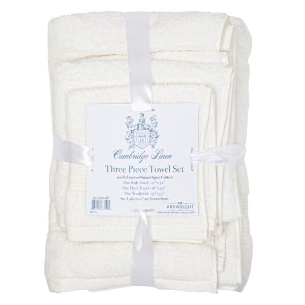 Cambridge Linen Three Piece Towel Set White
