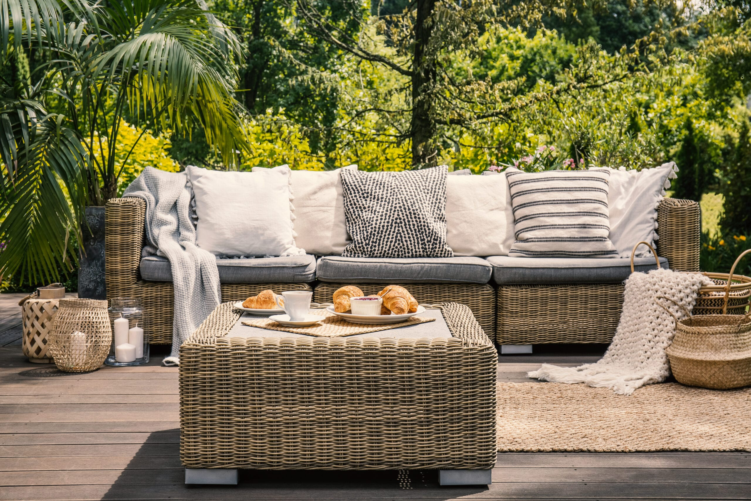 An Earthy Gray Palette Creates a Sophisticated Poolside Space