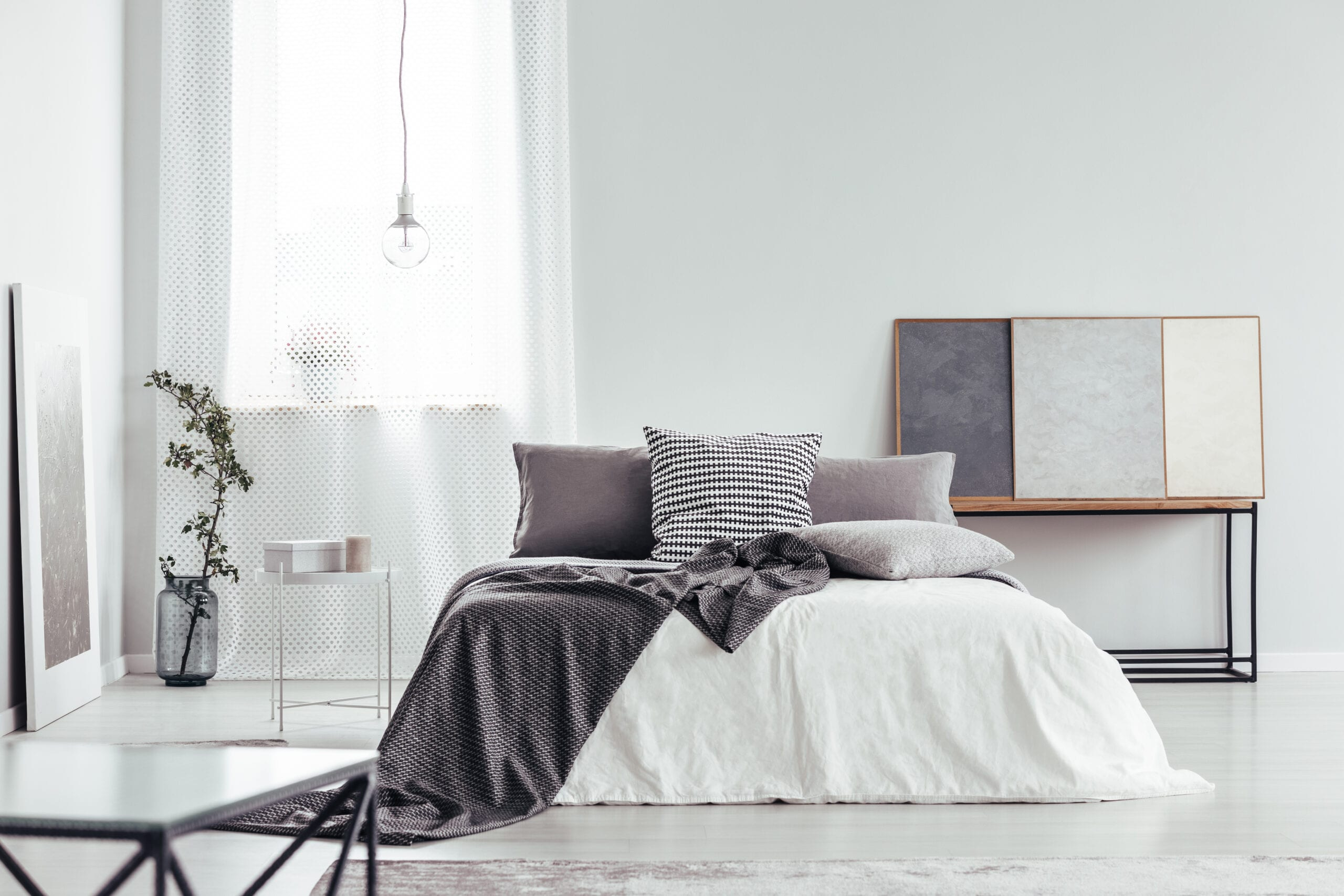 Bedroom Textiles in Shades of Gray