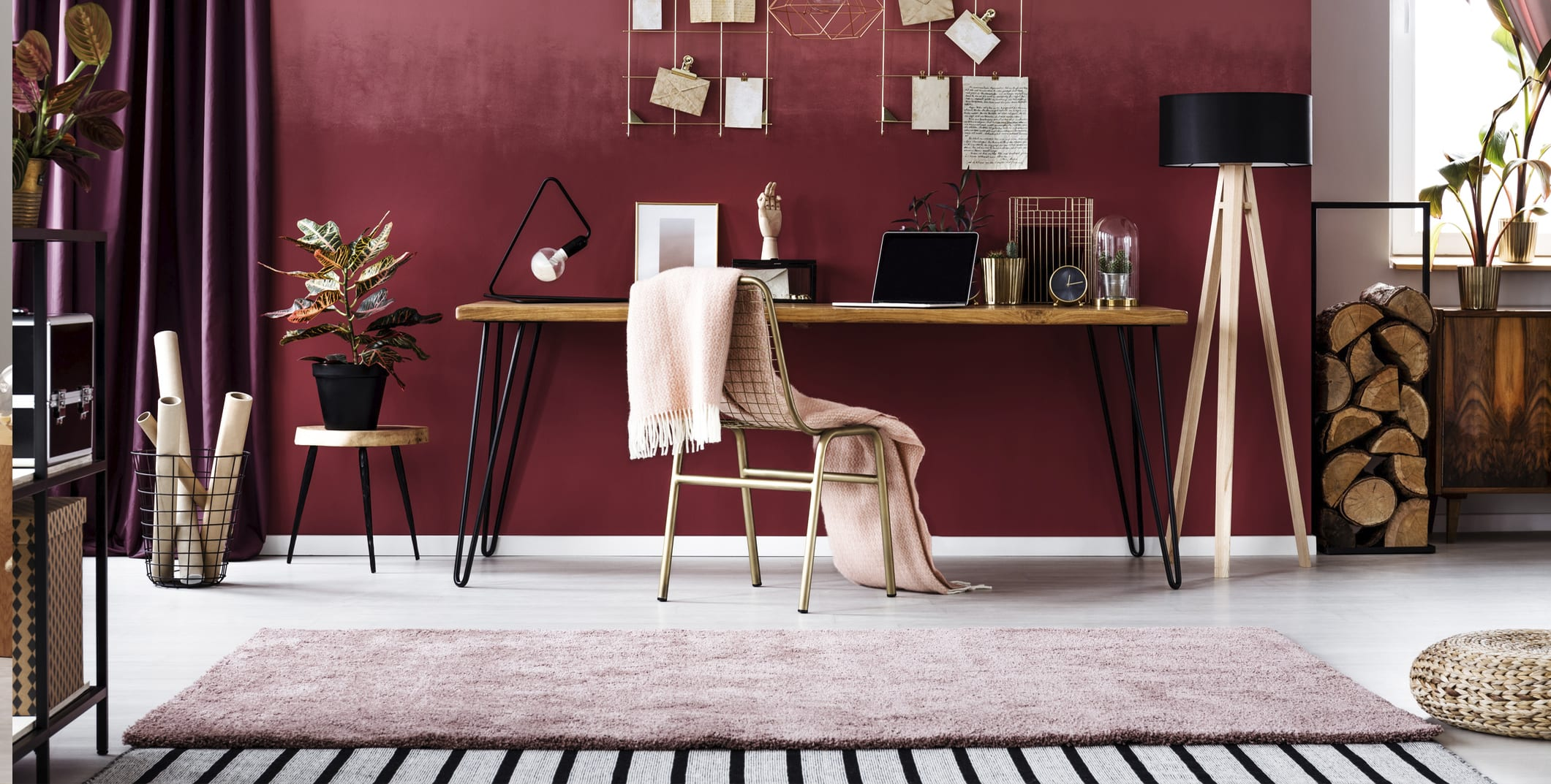 Make Your Home Office Homier with an Accent Throw or Rug